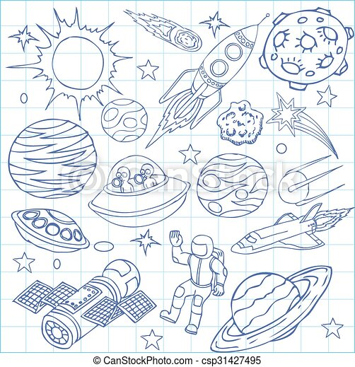 Sheet Of Exercise Book With Outer Space Doodles Symbols And Design