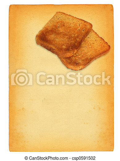 sheet of old paper with toast bread motif - csp0591502