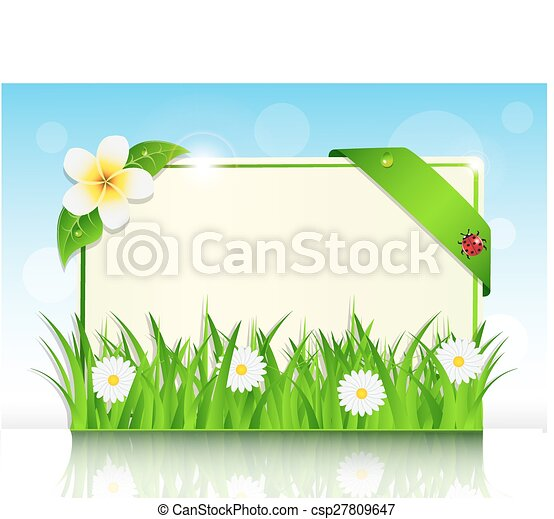 sheet of paper in the green grass - csp27809647