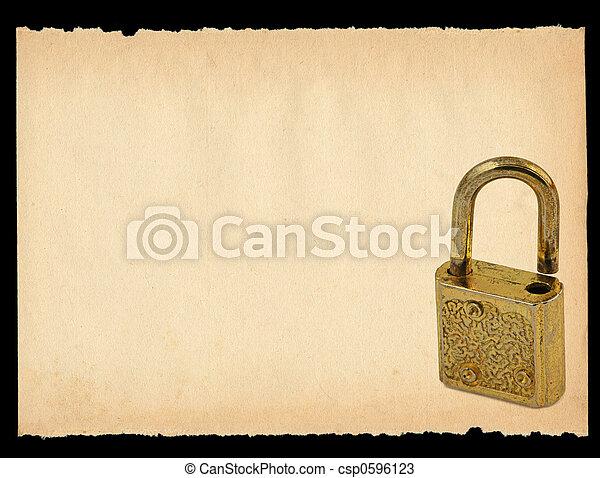 sheet of paper with old padlock motif - csp0596123