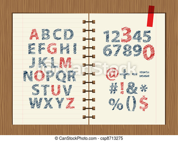 Sheet with sketch of letters and symbols for your design  - csp8713275