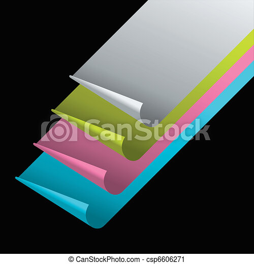 Sheets Of Color Paper With Curled Corners On Black Background