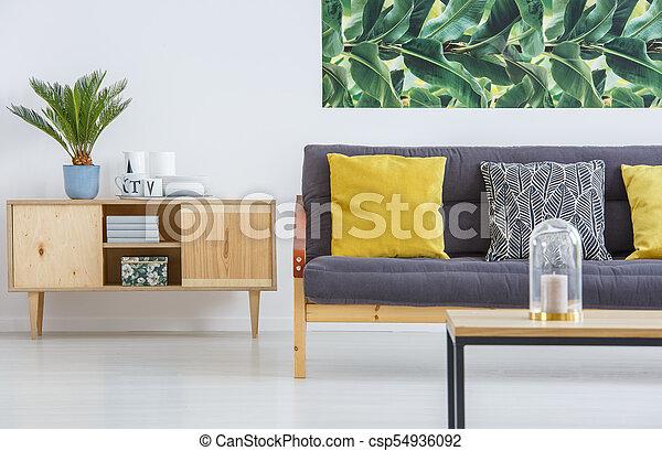 Shelf And Sofa With Cushions