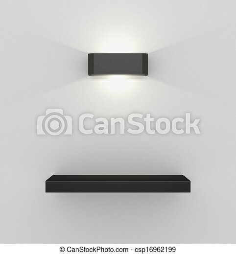 One Shelf On A Concrete Wall Illuminated By Modern Lamp 3d Render