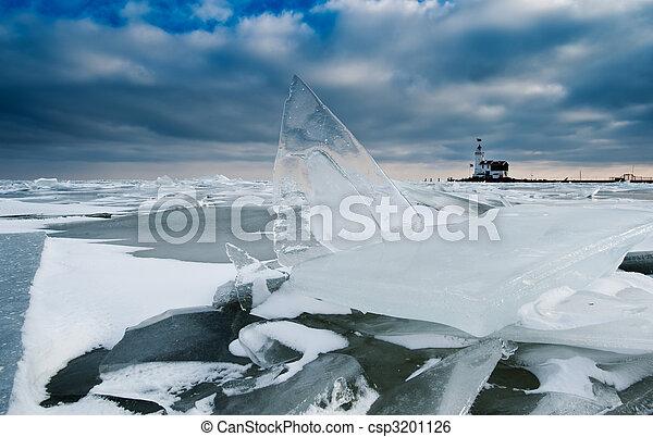 shelf ice and lighthouse - csp3201126