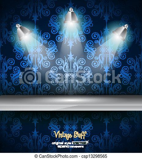 Shelf with 3 LED spotlights  - csp13298565