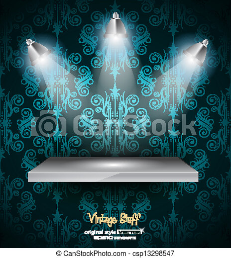 Shelf with 3 LED spotlights - csp13298547