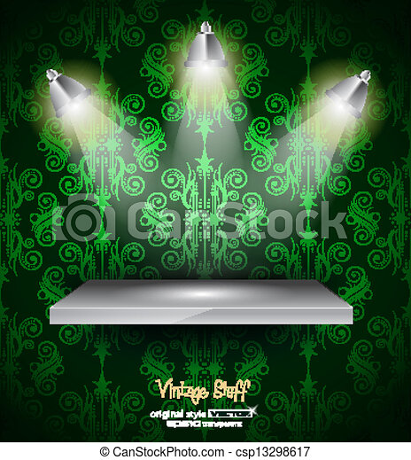 Shelf with 3 LED spotlights with old dirty look on a vintage seamless wallpaper. Shadows are transparent. - csp13298617
