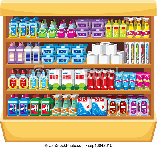 Shelfs with household chemicals - csp18042816