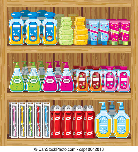 Shelfs with household chemicals. - csp18042818