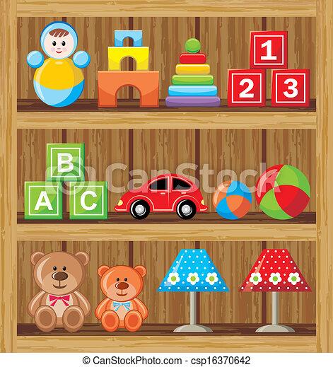 Shelfs With Toys Vector