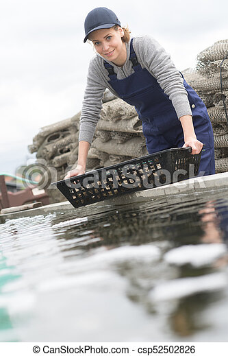 shellfish and fish farm in the sea - csp52502826