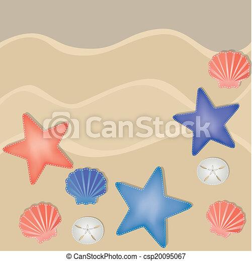 Shells, starfish and sand dollars on a sandy beach - csp20095067