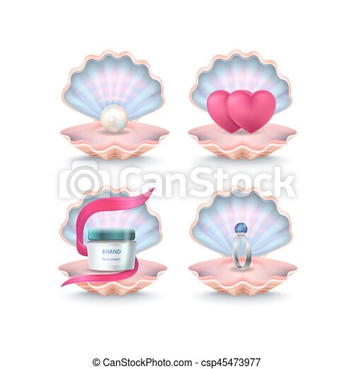 Shells with Face Cream, Pink Hearts, Wedding Ring - csp45473977