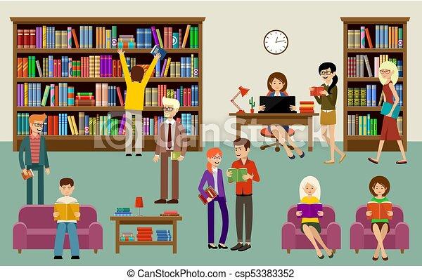 Shelves Gens Livre Bibliotheque Interieur Education