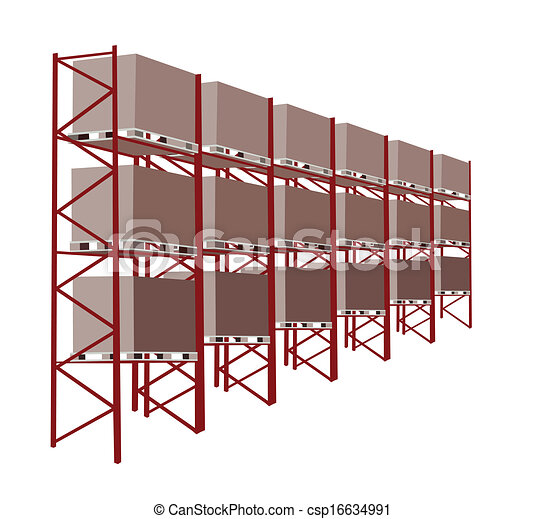 Shelves Manufacturing Storage in A Warehouse With Goods - csp16634991