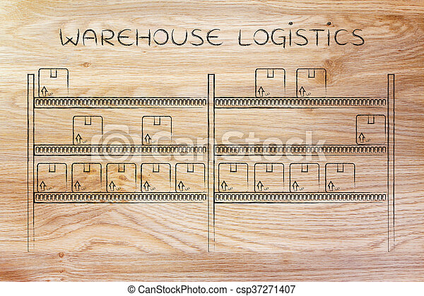 shelves with few products left, warehouse logistics - csp37271407