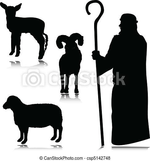 shepherd vector silhouettes - csp5142748