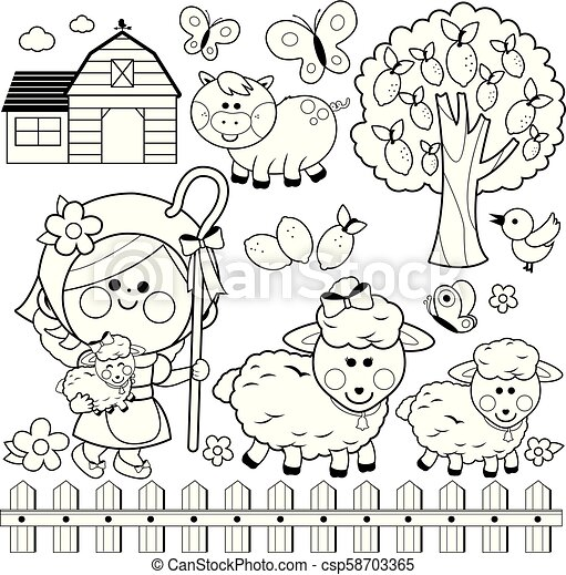 Child Farm Animals Sheep Pig Bird Tree Building Butterflies Lemon And A Pink Wooden Fence Black White Coloring Book Page