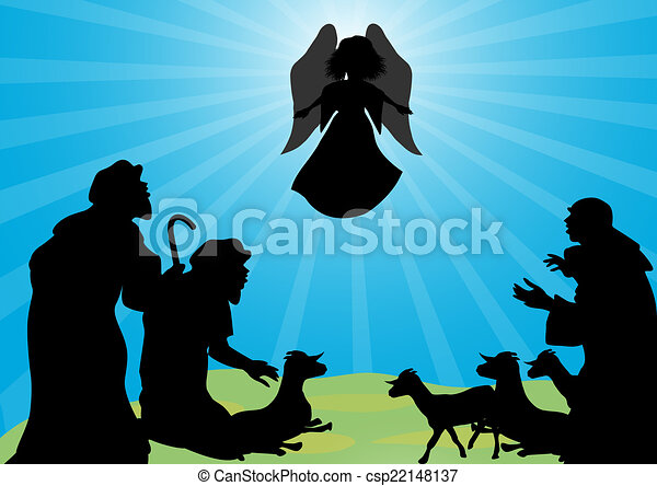 Shepherds and angel silhouette - csp22148137
