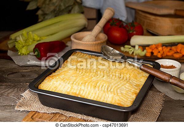 Shepherdu0027s pie traditional english dish. Recipe with minced beef lamb carrot onion & Shepherdu0027s pie traditional english dish. recipe with minced beef ...