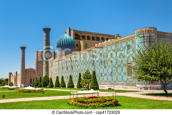 Sher Dor madrasah on Registan Square in Samarkand, Uzbekistan - csp41703029