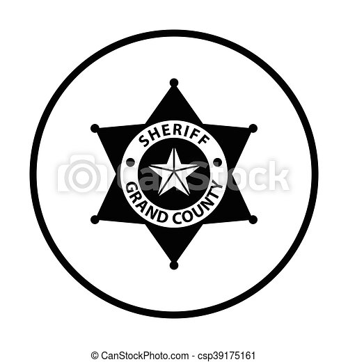 sheriff badge icon thin circle design vector illustration clip rh canstockphoto com florida sheriff badge vector sheriff badge clipart vector
