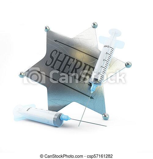 sheriff's badge syringe on a white background 3D illustration, 3D rendering - csp57161282