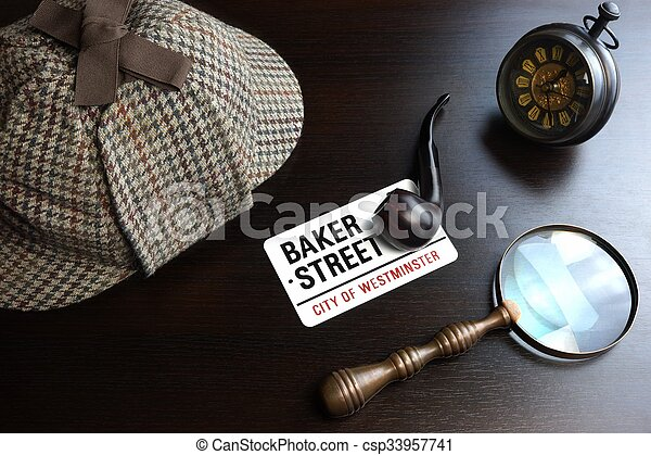 Sherlock Deerstalker Hat,  Clock, Magnifier And Smoking Pipe In Dark - csp33957741