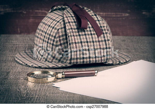 Sherlock Hat and magnifying glass - csp27007988