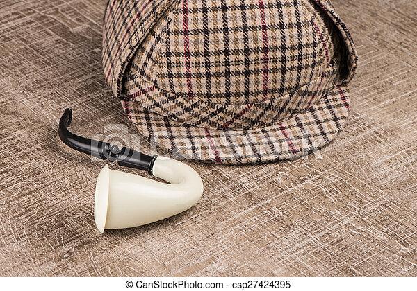 Sherlock Hat and Tobacco pipe - csp27424395