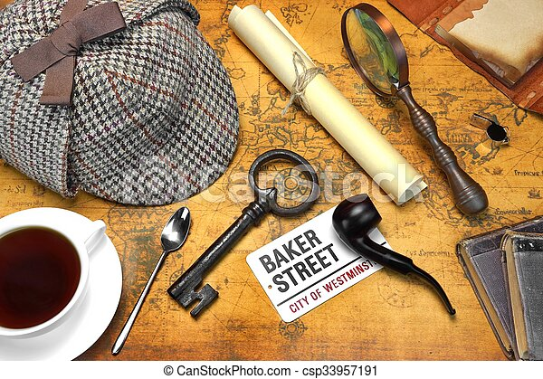 Sherlock Holmes Deerstalker Cap And Other Objects On Old Map - csp33957191