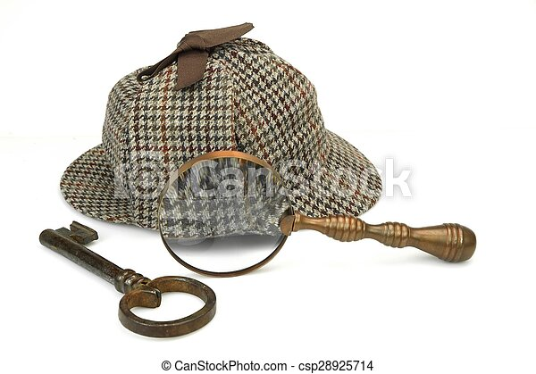 Sherlock Holmes Deerstalker Cap, Vintage Magnifying Glass And Old Key - csp28925714