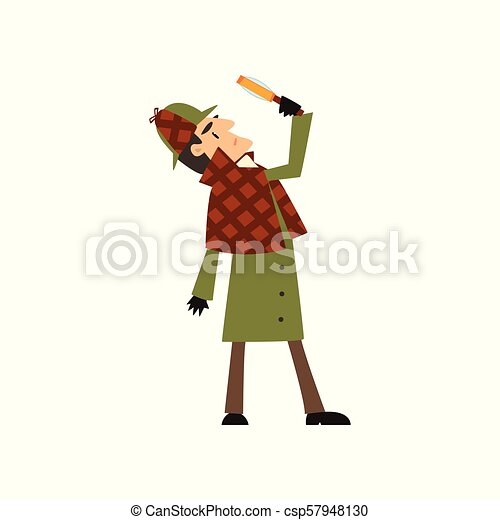 2696d6b29 Sherlock Holmes detective character looking at magnifying glass vector  Illustration on a white background