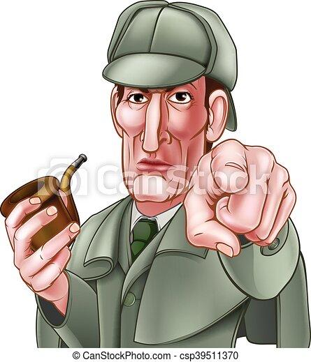 Sherlock Holmes Pointing Cartoon - csp39511370