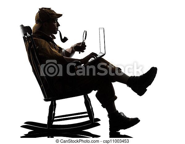 sherlock holmes silhouette computing - csp11003453