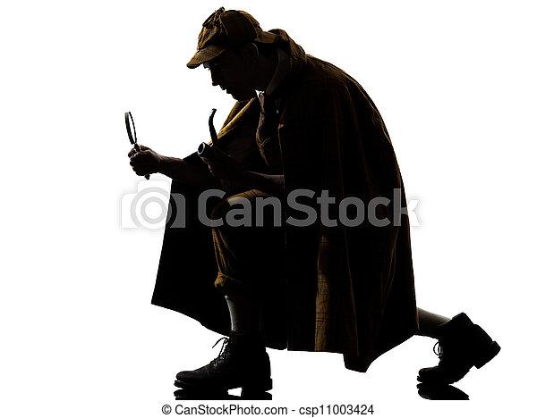 sherlock holmes silhouette - csp11003424