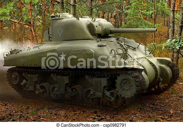 Sherman tank in the forest - csp0982791