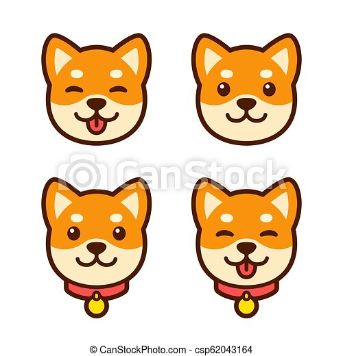 Cute Cartoon Shiba Inu Puppy Face Set For Icon Or Logo Happy Dog With Tongue Sticking Out Simple Vector Illustration