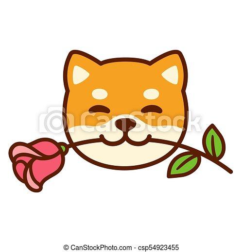 shiba inu with rose funny cartoon shiba inu dog holding rose in mouth cute valentines day Shiba Inu Icons shiba inu clip art good job
