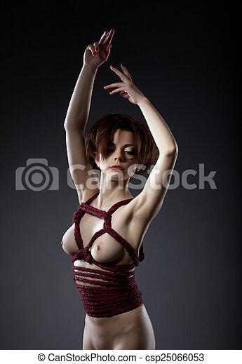 Art nude photo posing woman think