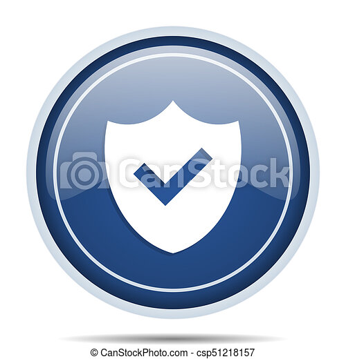 Shield blue round web icon. Circle isolated internet button for webdesign and smartphone applications. - csp51218157