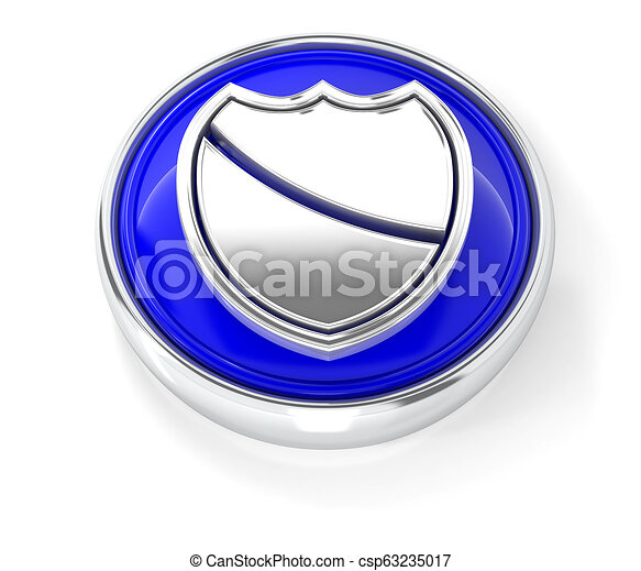 Shield icon on glossy blue round button - csp63235017