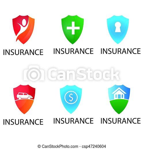 insurance logo template  Shield logos, vector set of insurance signs. Shield logos, vector ...