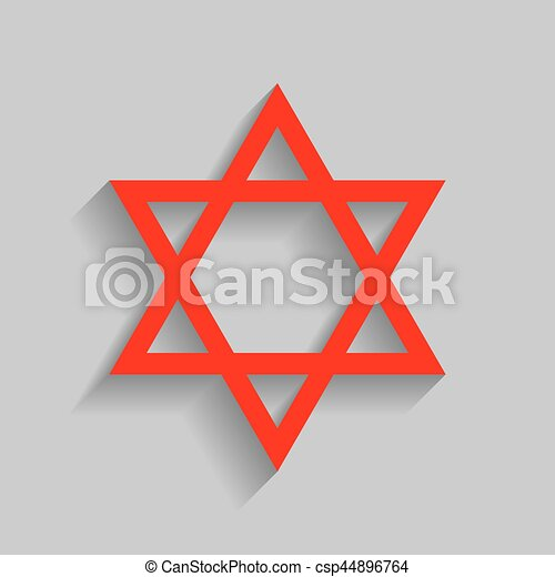 Shield Magen David Star Symbol Of Israel Vector Red Icon With