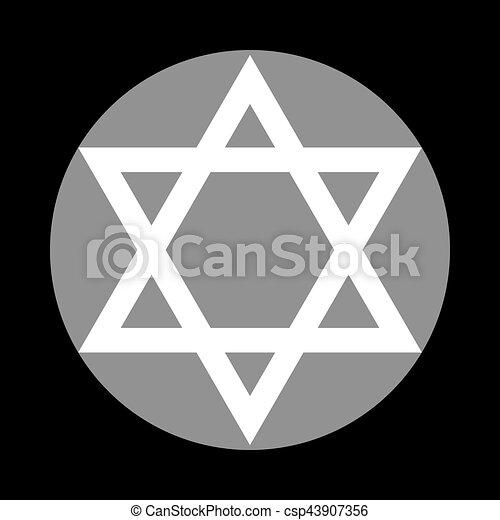 Shield Magen David Star Symbol Of Israel White Icon In Gray Circle