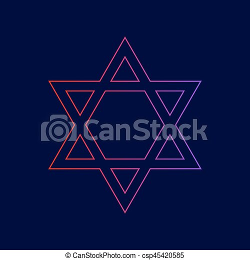Shield Magen David Star Symbol Of Israel Vector Line Icon With Gradient From Red To Violet Colors On Dark Blue Background
