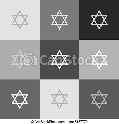 Shield Magen David Star Symbol Of Israel Vector Grayscale Version