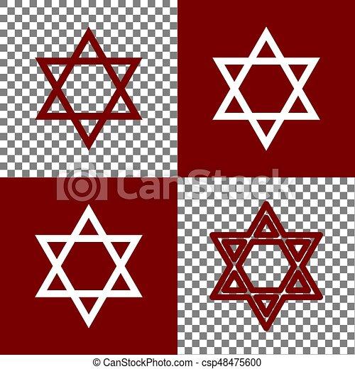 Shield Magen David Star Symbol Of Israel Vector Bordo And White