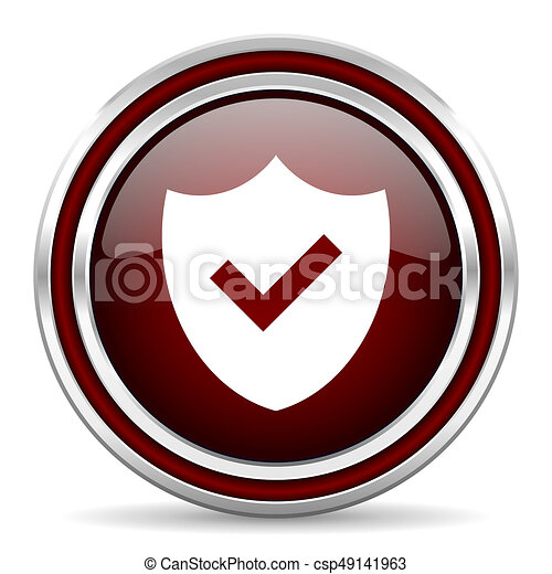 Shield red glossy icon. Chrome border round web button. Silver metallic pushbutton. - csp49141963